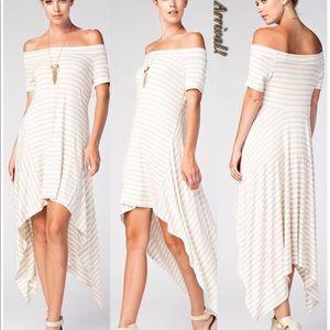 Hi Low tan & Cream Dress